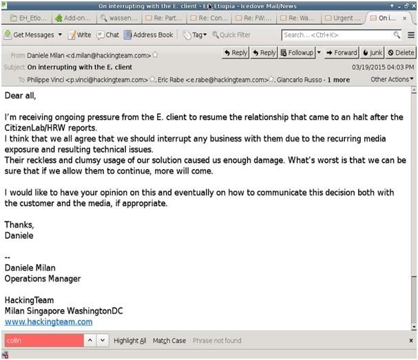 """Email che rivela come Hacking Team considerasse il governo etiope """"reckless and clumsy"""", incauto e impacciato, una minaccia all'azienda e alle sue attività. Foto su licenza CC ripresa da Pambazuka.org."""