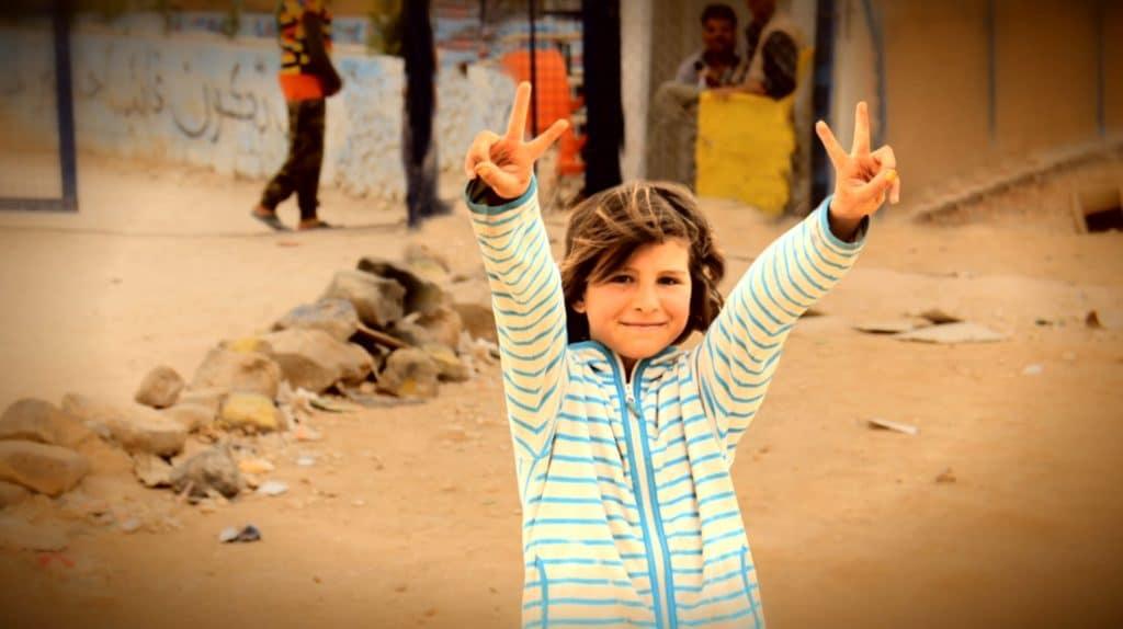 """Schermata dal video """"Arte dei bambini siriani al National Mall"""", dalla piattaforma di crowdfunding Gofundme."""
