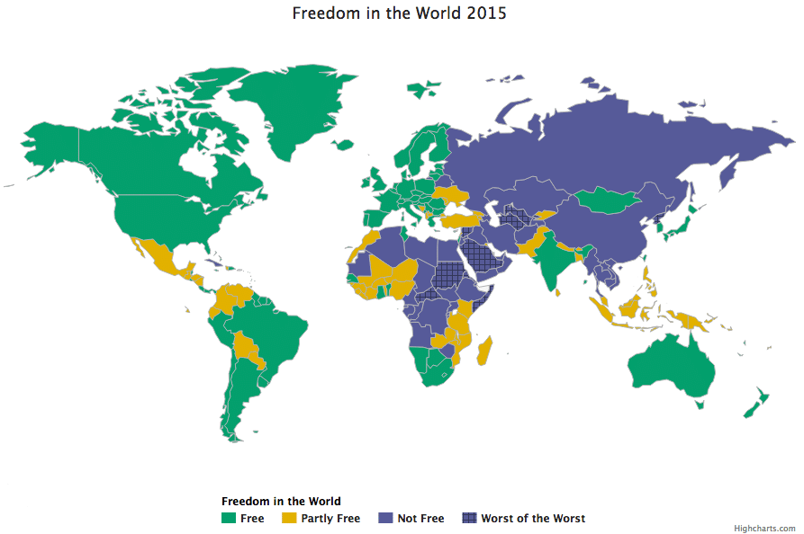 Freedom in the World 2015, mappa interattiva di Freedom House. Cliccare per accedervi.