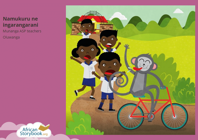 """La bicicletta di Namukuru"", fiaba in lingua Oluwanga, Kenya. Immagine ripresa da African Storybook.org, licenza CC Attribution 4.0."