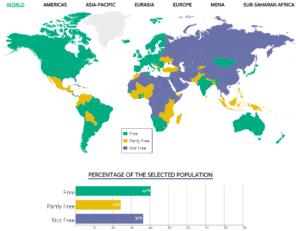 Mappa interattiva 'Freedom in the World', da Freedom House rapporto 2016.