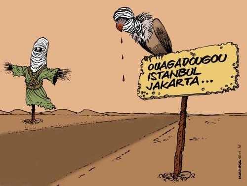 Terrore islamista, vignetta del disegnatore Michel Kichka.