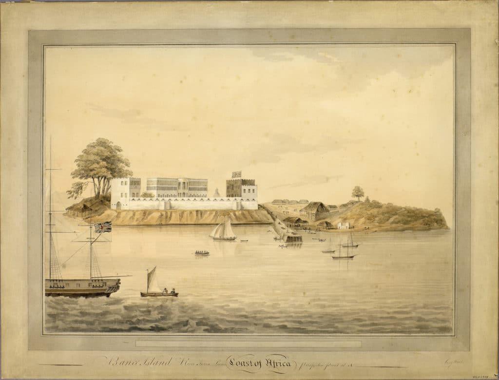 Fortino a Bunce Island, Sierra Leone, acquarello del 1850 ca., immagine tratta da UnderstandingSlavery.com