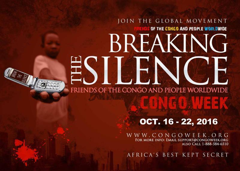 Volantino promozionale dell'iniziativa Congo Week - Break the Silence