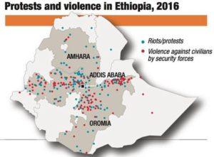 Mappa delle violenza in Etiopia nel 2016, tratta dal sito dell'ACLED (Armed Conflict Location and Event Data Project)