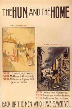 Poster inglese della Prima Guerra Mondiale che attacca le atrocità dei Tedeschi in Belgio.