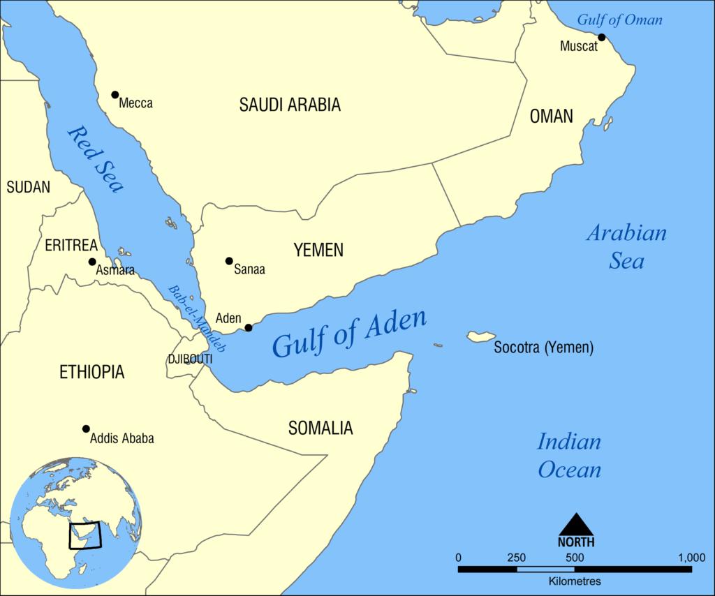 Mappa del Golfo di Aden, utente Flickr NormanEinstein. Licenza CC.
