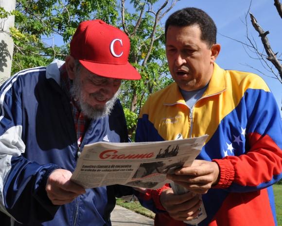 Incontro tra Fidel Castro e Hugo Chávez, immagine presa dal sito CubaDebate.cu.