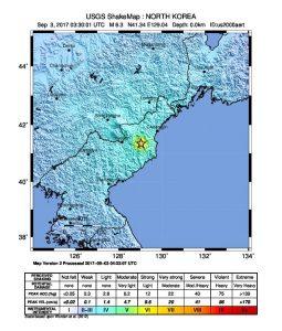 M 6.3 Explosion - 22km ENE of Sungjibaegam, North Korea Autore: USGS - https://earthquake.usgs.gov/earthquakes/eventpage/us2000aert#shakemap. Wikimedia Commons