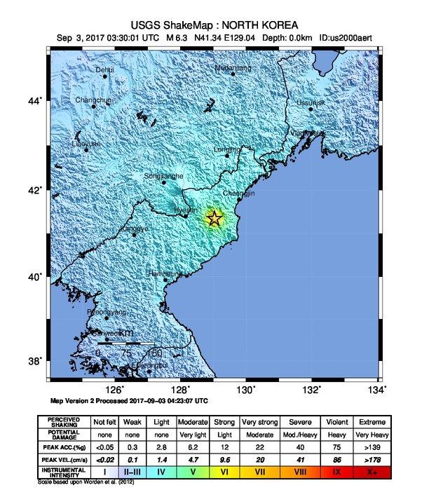 M 6.3 Esplosione - 22km ENE di Sungjibaegam, Corea del Nord. Autore: USGS - https://earthquake.usgs.gov/earthquakes/eventpage/us2000aert#shakemap. Wikimedia Commons