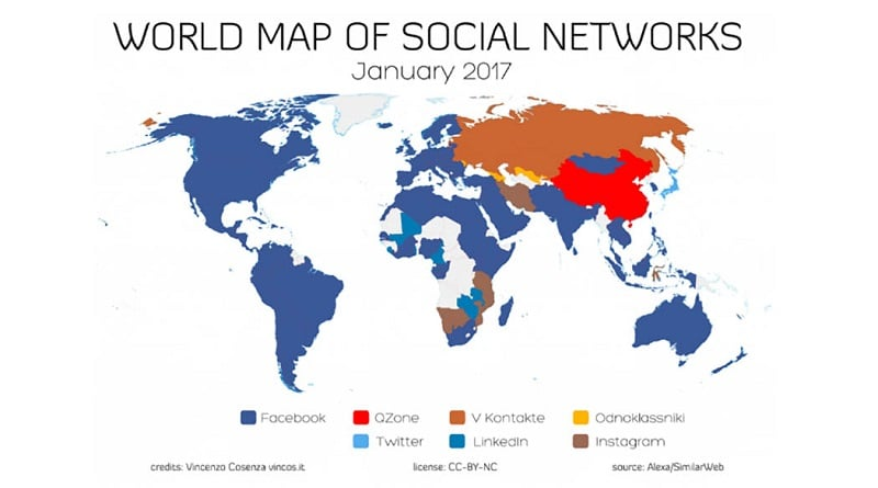 La mappa dei social network nel mondo basata sui dati basata sui dati Alexa (Amazon)