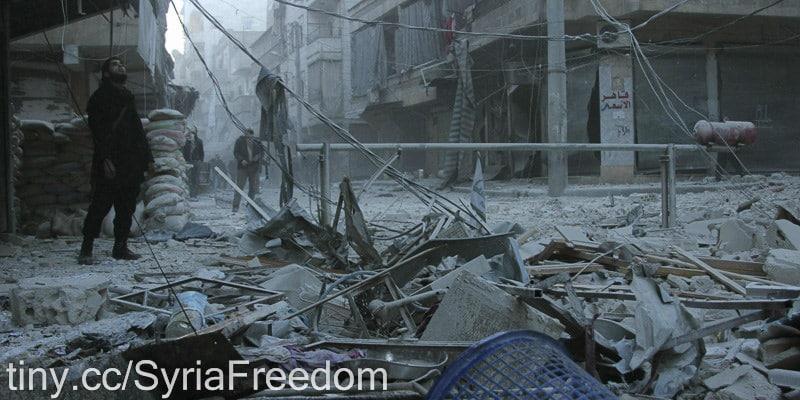 Aleppo dopo un bombardamento. Foto Flickr dell'utente Freedom House. Licenza CC.
