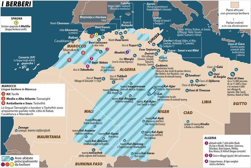 Berberi in Africa - Mappa ripresa da Limes su cortese autorizzazione. Amazigh libici concentrati in Gebel Nefusa