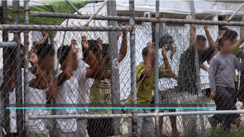 Centro detenzione a Manus . Foto da video di Guardian News