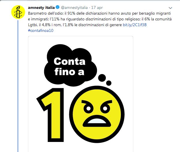 Campagna Conta fino a 10 -Amnestry International da pagina Twitter
