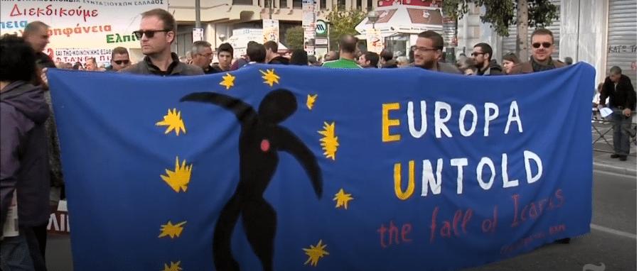 Proteste dei lavoratori greci contro l'austerità. Atene 2015. Foto da video New York Times