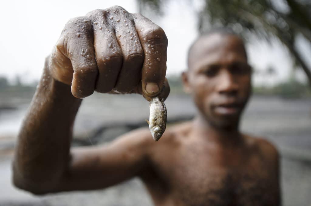 Un pescatore mostra le conseguenze dell'inquinamento petrolifero nei piccoli fiumi locali. Immagine ripresa da Flickr/ Milieudefensie in licenza CC. Alcuni diritti riservati.