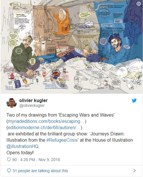 Due miei disegni tratti dal fumetto Escaping Wars and Waves sono esposti alla splendida mostra di gruppo Journeys Drawn: Illustration from the #RefugeeCrisis' presso l'House of Illustration di Londra. Aperto oggi. Olivier Kugler su Twitter.