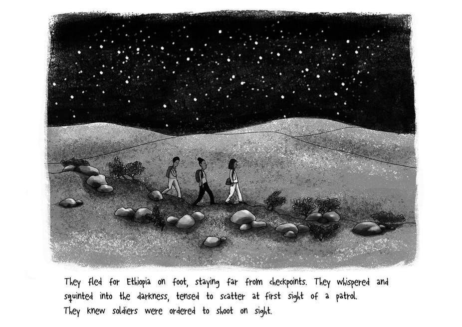 Una vignetta dal fumetto pubblicato dall'organizzazione PositivesNegatives. Illustrazioni di Gabi Froden.