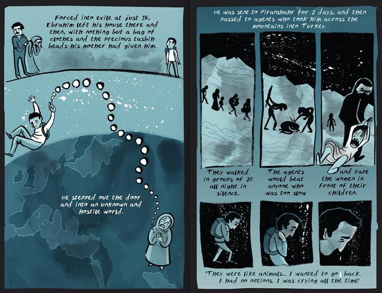 La storia di Ebrahim prende vita in un fumetto. Immagine di Karrie Fransman e British Red Cross