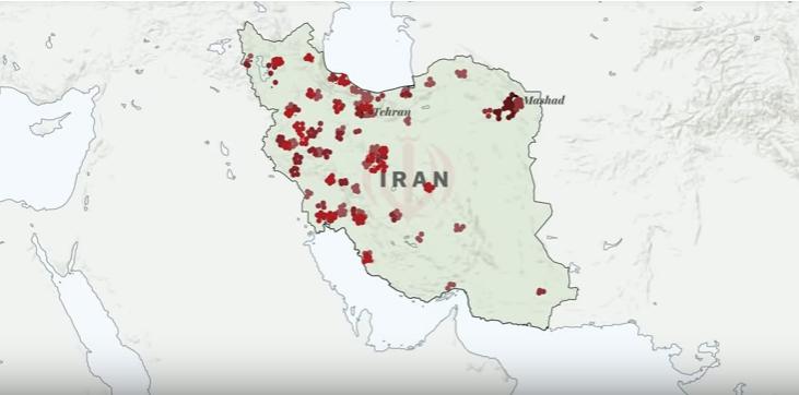 Diffusione della protesta in Iran nel 2018. Da video di Vox.