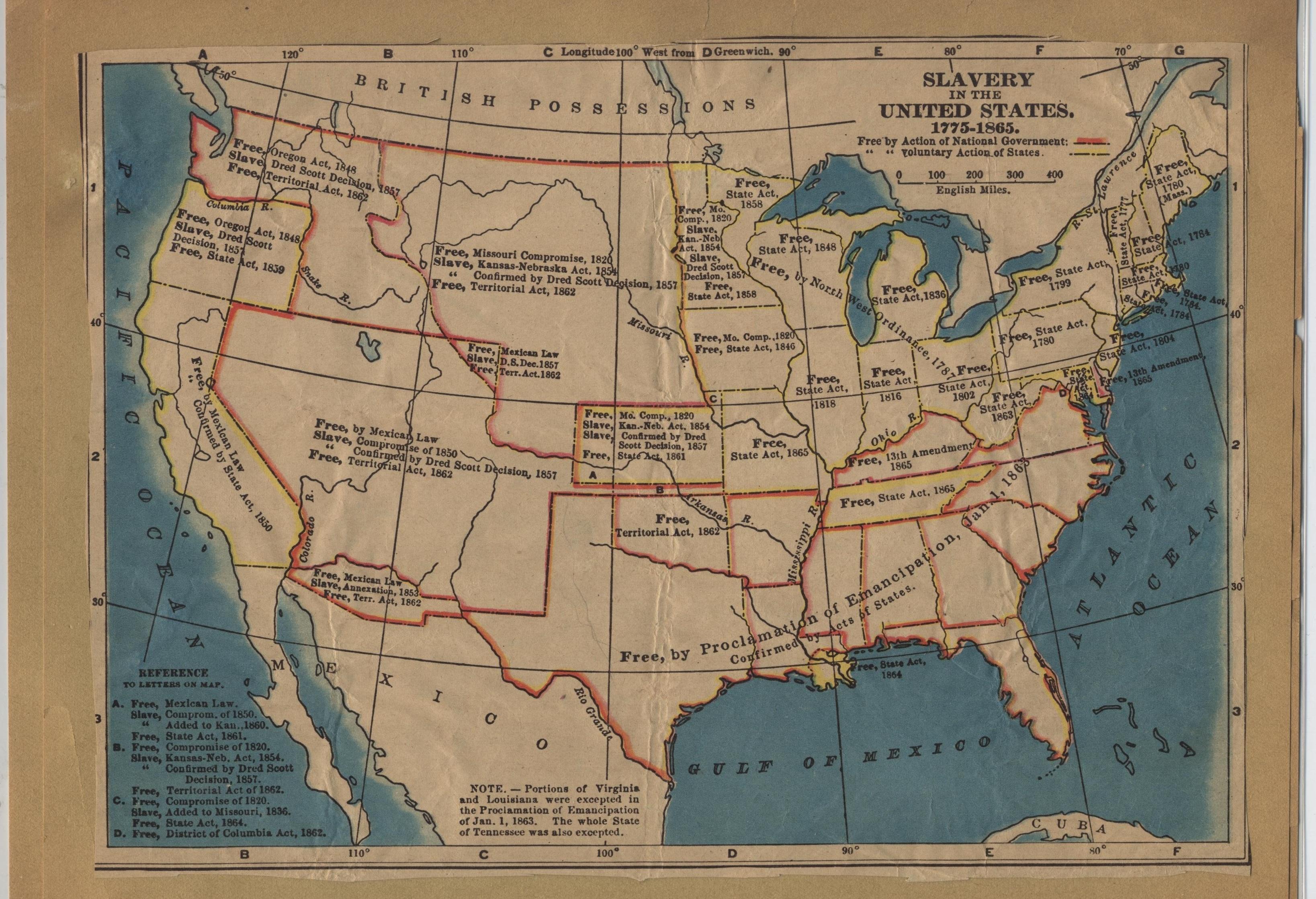 Mappa storica che illustra la diffusione del fenomeno della schiavitù negli Stati Uniti dal 1775 al 1865. Flickr/Museum of American Finance in licenza CC