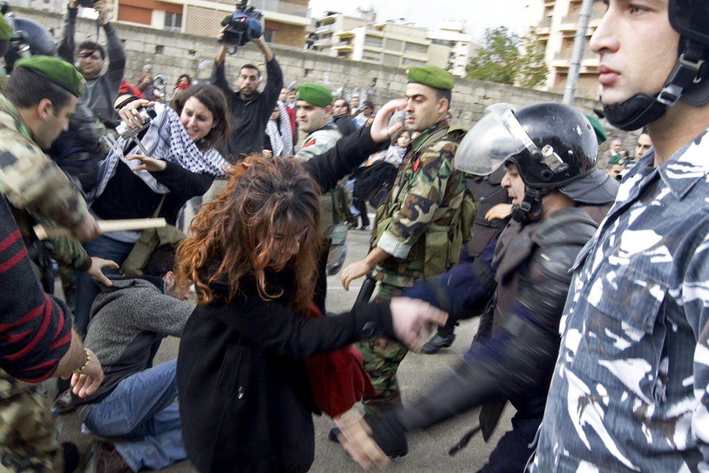 La brutalità usata dall'Esercito libanese e dalle sue forze di polizia. Farfahinne in licenza CC