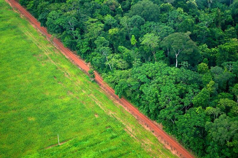 Vista aerea del contrasto tra foresta paesaggio agricolo vicino a Rio Branco, Acre, Brasile. Foto dell'utente Flickr CIFOR su licenza CC.
